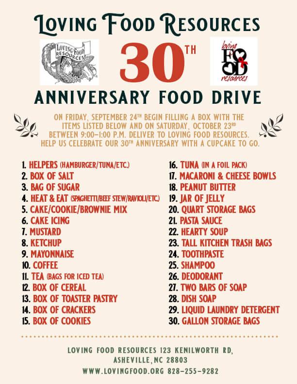 30th Anniversary Food Drive